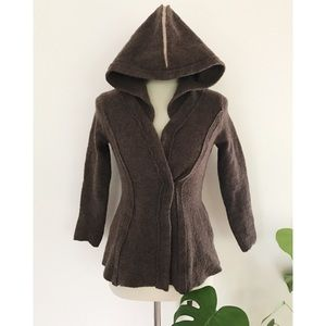 Rosie Neira Boiled Wool Wrap Hooded Belted Jacket